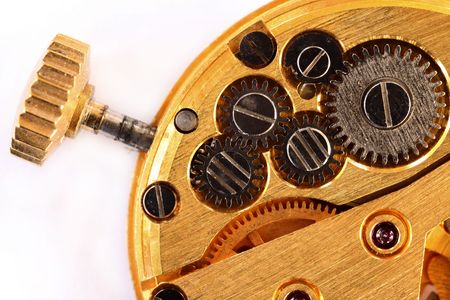 timekeeping: Extreme macro view of the workings of a wristwatch