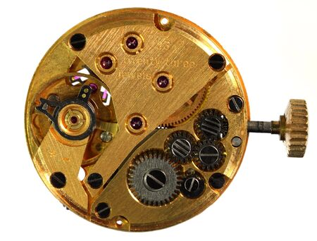 timekeeping: View of the back of the workings of a wristwatch