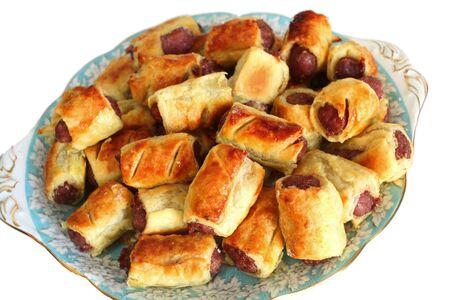 Rollos de salchicha casera en un plato  Foto de archivo - 6046501