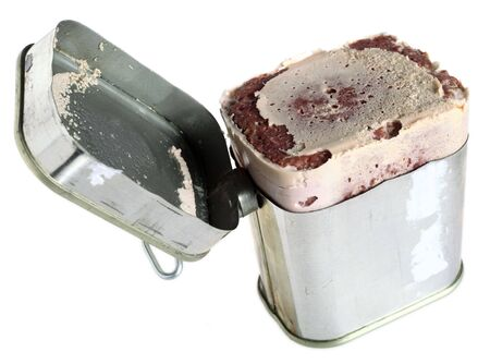 Corned beef (bully beef) tin, isolated on a white background Stock Photo - 6370658