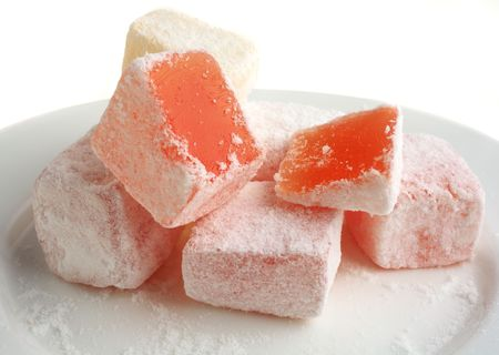 turkish delight: Turkish delight on a white plate seen close-up