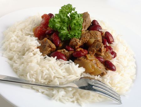 Chili and rice with fork photo