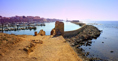 east end: Hania harbour and old town, Crete, Greece, seen from the old city wall at the east end. Stock Photo