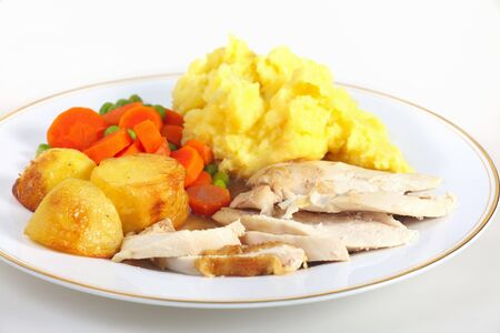 dinner plate: A dinner of roast chicken served with roast potatoes, mixed veg, mashed potato and gravy.