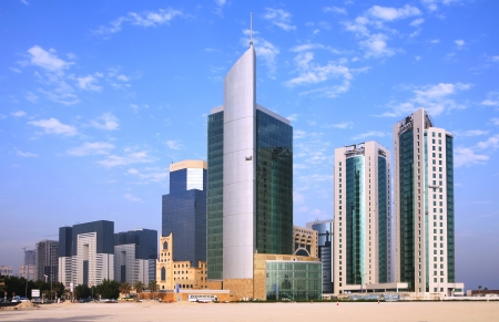 Doha commercial district logos removed Stock Photo