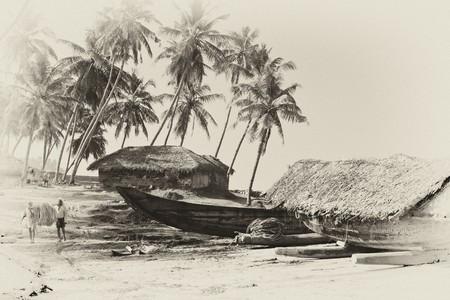 Indian village, retro styled photo
