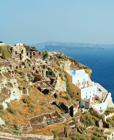 where to go: Part of the picturesque Santorini village of Oia, where the blue-domed churches are a major attraction. The ruins left from when the village was destroyed in an earthquake in 1953 blend in so well they go almost unnoticed.