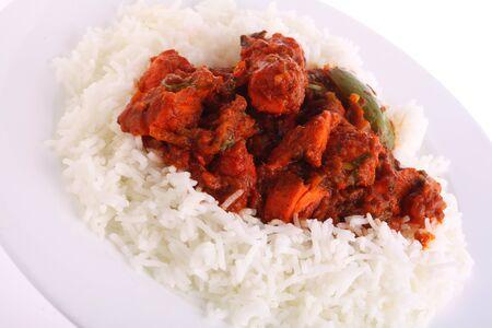 masala: Un plato de Pollo tikka masala en arroz hervido  Foto de archivo