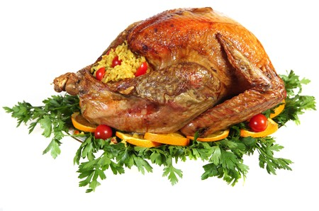 A stuffed, roast turkey on a bed of Italian flat-leaf parsley, garnished with sliced of orange and cherry tomatoes. Studio isolated