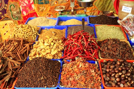 Curry spices on sale at a roadside stall in Varkala, Kerala, India