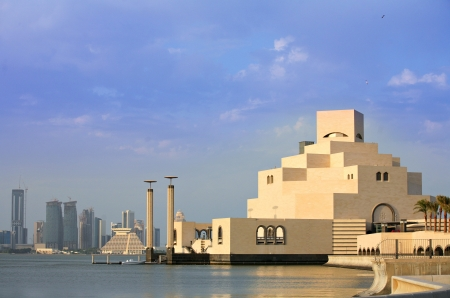 A view across Doha Bay from the Corniche to the  Museum of Islamic Art and the emerging skyline beyond (November 2008) Stock Photo