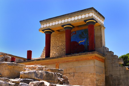 The North Entrance to the Minoan palace of Knossos on Crete, Greece, with the Arthur Evans reconstruction of what it may have looked like almost 5,000 years ago.