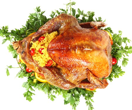viewed: Roasted turkey viewed from above Stock Photo