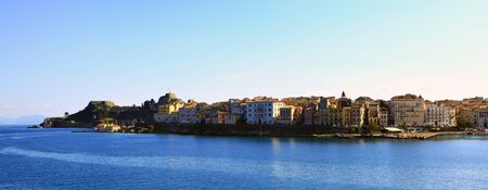 kerkyra: A view of  Corfu (Kerkyra) town from the sea with the old castle on the left