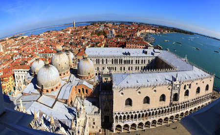 A fisheye view of Venice, Italy, looking east over San Marco (St Marks) cathedral in the heart of the ancient city. photo
