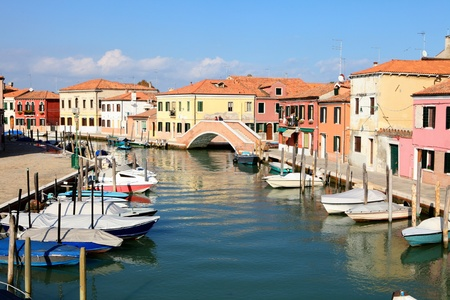 murano: A view of one of the canals in the island of Murano, Venice, which is famous for the glass it has been making since the Roman era.