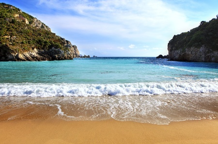 A view of Paleokastritsa beach on Corfu, Greece, one of the Islands most popular resorts. photo
