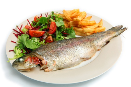 farmed: A grilled rainbow trout served with french fries and a salad of lambs lettuce, lettuce, tomato and grated beetroot