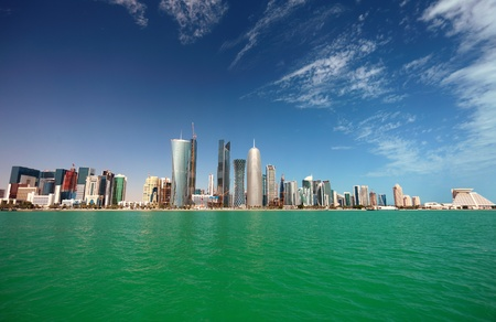 A wide-angle view of the Doha skyline in February 2011 Stock Photo
