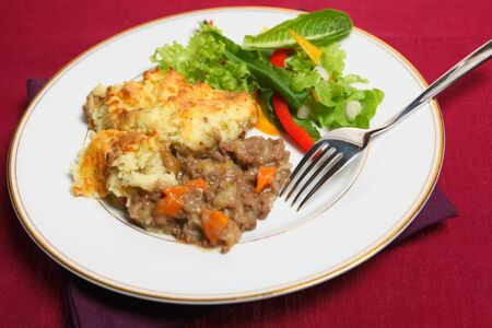 minced pie: Close-up view of a meal of shepherds pie (minced meat stew topped with mashed potato and baked golden) and fresh salad.