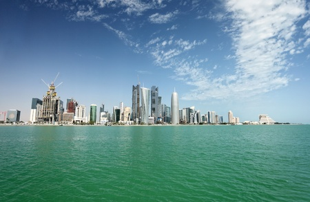 A view of the city skyline in Doha, Qatar, Arabia, in February 2011 Stock Photo