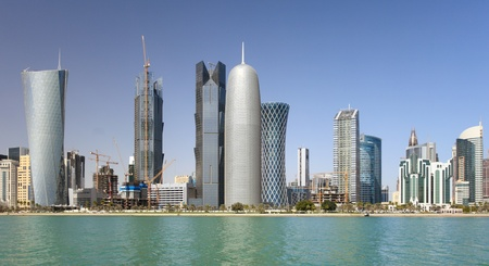 Wide-angle view of the towers in the emerging business district of Doha, Qatar (taken in Feb 2011).