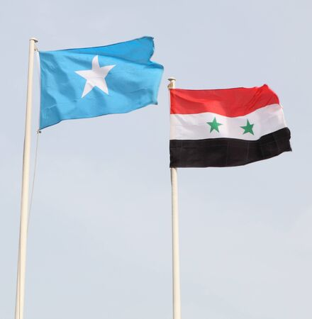 somalian: The national flags of Somalia (left) and Syria flying in Qatar during an international gathering.
