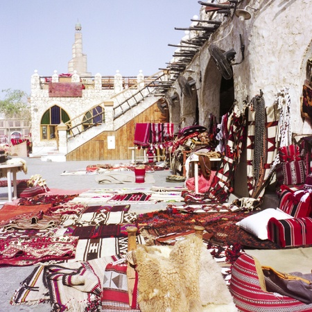 souq: Textiles in Souq Waqif, Doha, Qatar