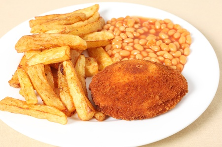 baked beans: Chicken kiev chips and beans