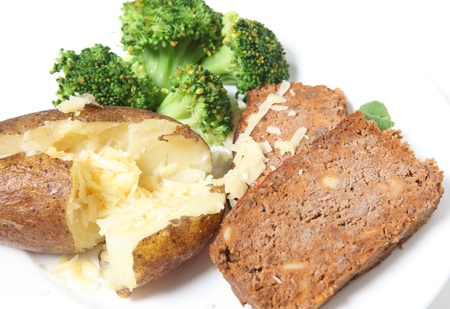 meatloaf: A meal of meatloaf served with baked potato, grated cheese and broccoli
