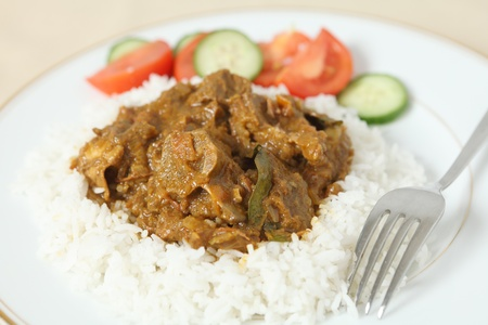 Lamb rogan josh, with basmati rice and a salad of tomato and cucumber. The lamb, on the bone is in a spicy tomato sauce. photo