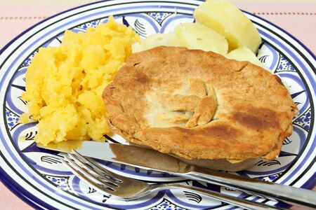 swede: A homemade pie with swede (rutabaga) and boiled potato