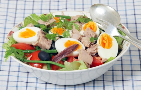 potato tuna: A serving bowl with spoon and fork of freshly made traditional nicoise salad - lettuce, potato, tomato, green beans, tuna, anchovies, boiled eggs, capers and black olives, garnished with flat-leaf parsley, over a neutral grey background