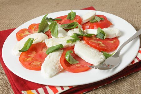 mozzarella cheese: A traditional italian caprese salad of bufala mozzarella cheese, tomatoes and basil.  The colour of the food reflects the colour of the national flag of Italy Stock Photo