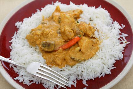 A plate of chicken and mushroom curry in a spicy cashew nut sauce, served with plain basmati rice
