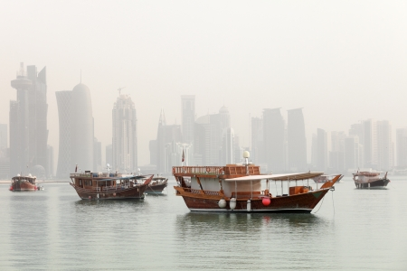 Dhows in Doha Bay, Qatar, June 2012, with the Arab capital