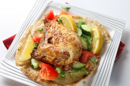 kosher: Mid-east style barbecue chicken  Originally an Egyptian dish but now very popular in Israel and other parts of the Middle East, the chicken is marinaded in lemon and spices and served