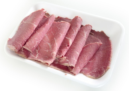 American-style corned beef on a supermarket or deli tray, with the slices folded back