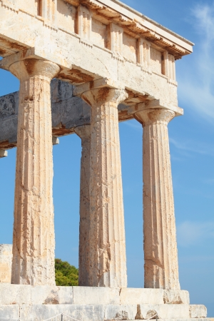 appears: A view of the Doric temple of Aphaia on Aegina island in the Saronic Gulf, south of Athens, showing some of the modern repairs  Aphaia appears to have been derived from a Minoan nymph, Britomartis Stock Photo