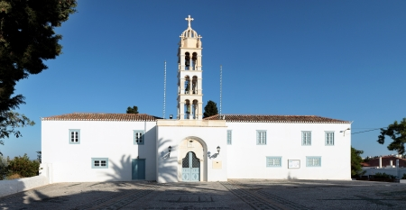 st  nicholas cathedral: St Nicholas Cathedral, Spetses, a former monastery and now the island Stock Photo