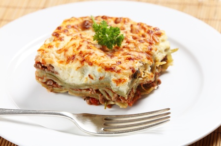 verdi: Homemade lasagne verdi on a white plate with a fork, side view