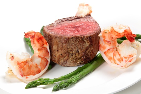 Giant prawns with tenderloin steak and asparagus, a very basic surf and turf meal
