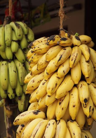 Huge bunches of bananas on sale at a shop in Kerala, South India. photo