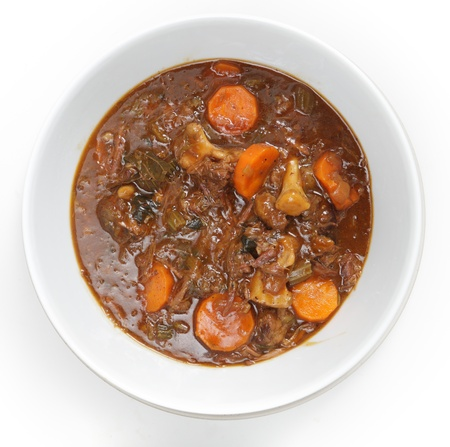 beef stew: High angle view of a bowl of homemade oxtail stew
