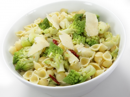 slivers: An Italian-style romanescu and pasta meal, cooked with chopped sun-dried tomatoes and topped with slivers of parmesan cheese  The romanescu cauliflower  or cabbage or broccoli - the names vary  fllorets are parboiled then fried before being tossed with th