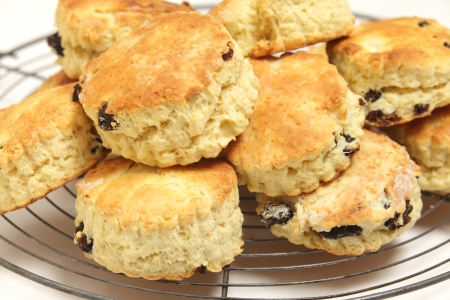 teacake: Freshly-baked fruit scones - similar to American  biscuits  - cooling on a wire rack  Scones are a traditional British tea-cake and can be plain or made with dried fruit or cheese  Stock Photo
