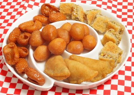 particularly: A plate of traditional Middle Eastern sweets that are particularly popular in the holy Muslim month of Ramadan Stock Photo