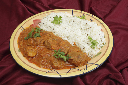 Lamb rogan josh, served with jeera  cumin  rice  A tilt-shift lens has been used to achieve huge depth of field  photo