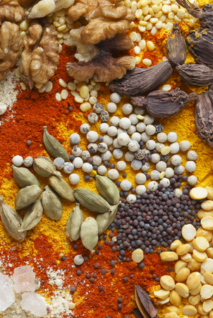cuisines: View of an assortment of spices and  ingredients used in indian and other asian cuisines