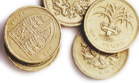 national plant: An assortment of British one pound coins, one showing the UK coat of arms, representing each of the four nations, England, Ireland, Scotland and Wales,another showing a leek, the national plant of Wales